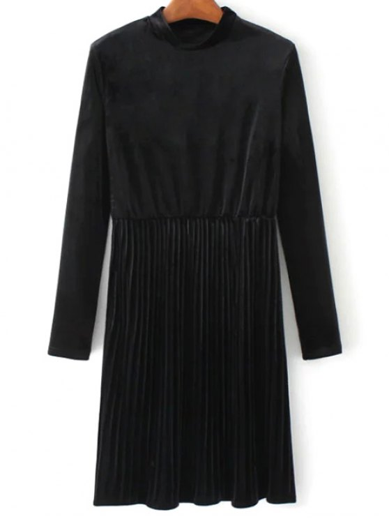Long Sleeve Vintage Velvet Pleated Dress - BLACK S Mobile