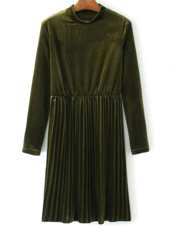 Long Sleeve Vintage Velvet Pleated Dress - GREEN M Mobile