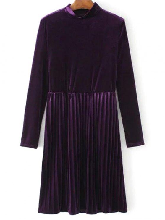 Vestido plisado de la vendimia del terciopelo de manga larga - Púrpura M