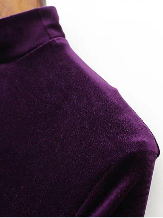 Long Sleeve Vintage Velvet Pleated Dress - PURPLE M Mobile