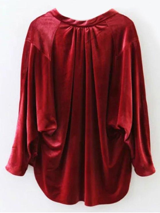 Oversized High-Low Velvet Blouse - WINE RED S Mobile