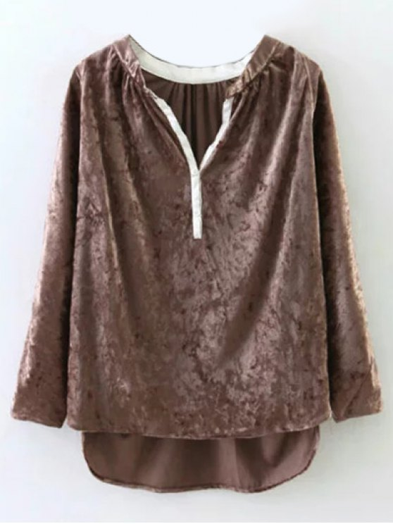 Oversized High-Low Velvet Blouse - LIGHT BROWN M Mobile