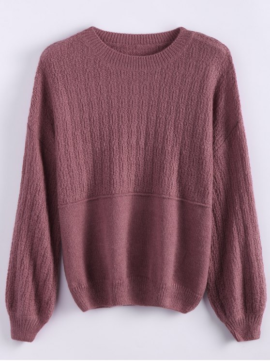 outfits Dropped Shoulder Crew Neck Sweater - CLARET ONE SIZE