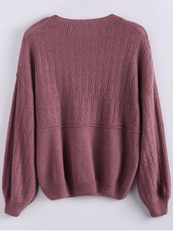 Dropped Shoulder Crew Neck Sweater - CLARET ONE SIZE Mobile