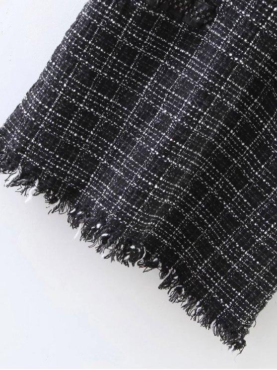 Rivet Sleeveless Frayed Hem Plaid Mini Dress - BLACK S Mobile