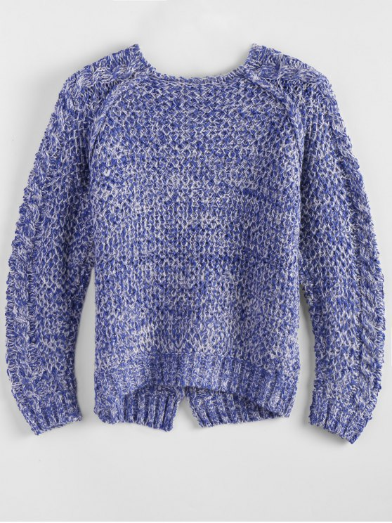 Heather Cable Raglan Sweater - BLUE ONE SIZE Mobile