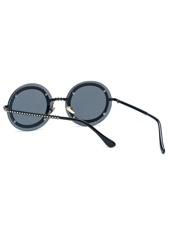 Rivet Gear Shape Round Sunglasses - BLACK  Mobile