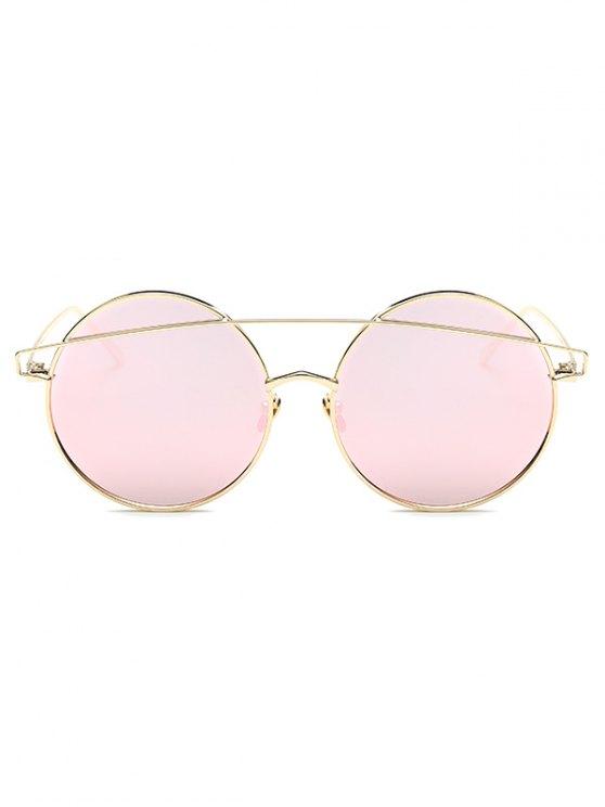Metallic Crossbar Round Mirrored Sunglasses -   Mobile