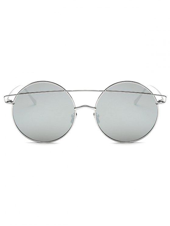 Metallic Crossbar Round Mirrored Sunglasses - SILVER  Mobile