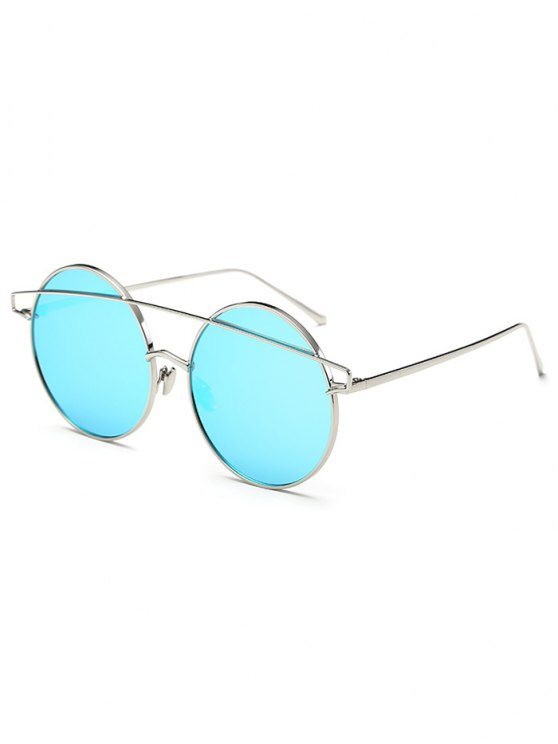 Metallic Crossbar Round Mirrored Sunglasses -   Mobile