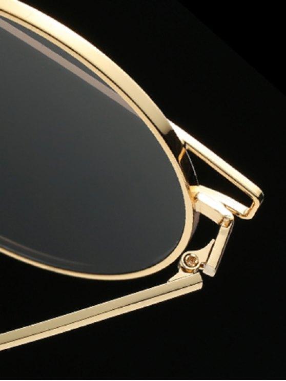 Metallic Crossbar Round Sunglasses - BLACK  Mobile