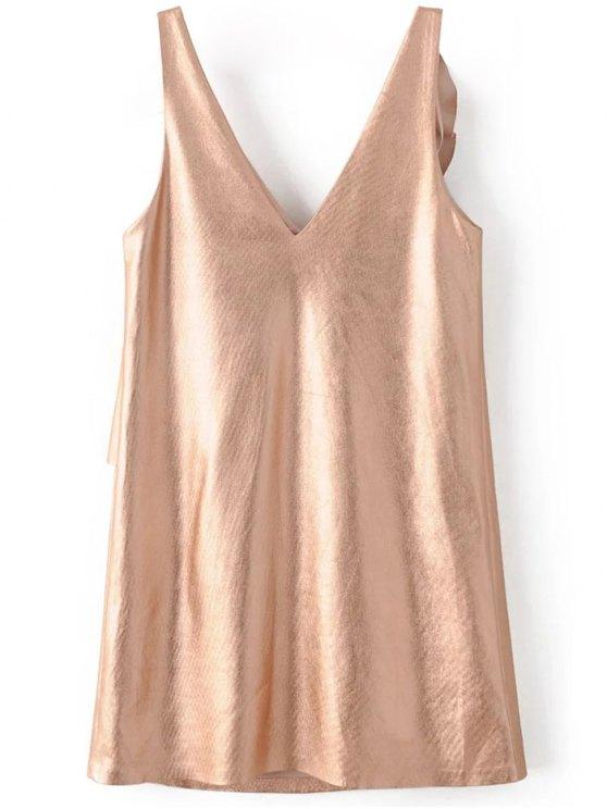 V Neck Ruffles Mini Tank Dress - ROSE GOLD M Mobile