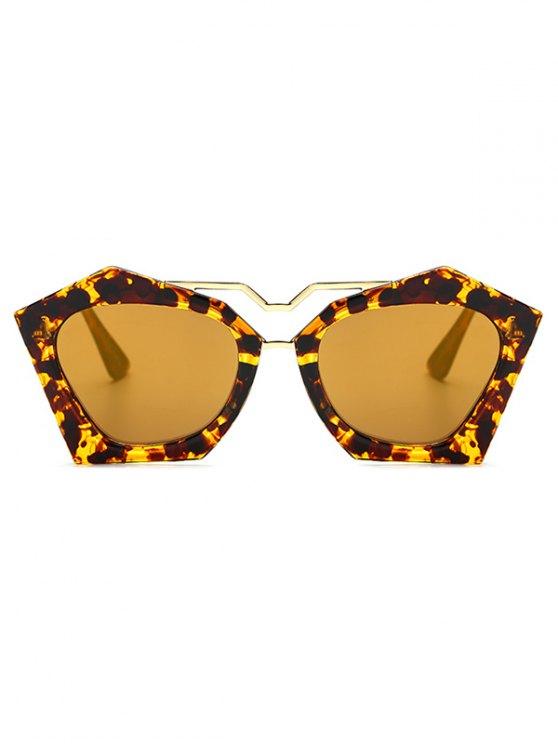 Irregular Mirrored Leopard Sunglasses - GOLDEN  Mobile