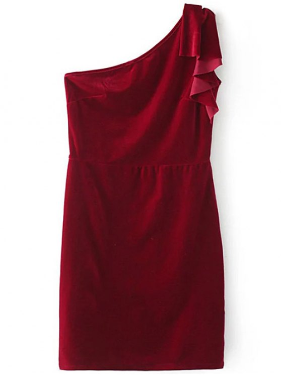 One Shoulder Velvet Ruffle Pencil Dress - WINE RED L Mobile