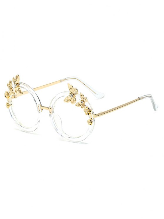 Butterfly Transparent Lens Oval Sunglasses - TRANSPARENT  Mobile