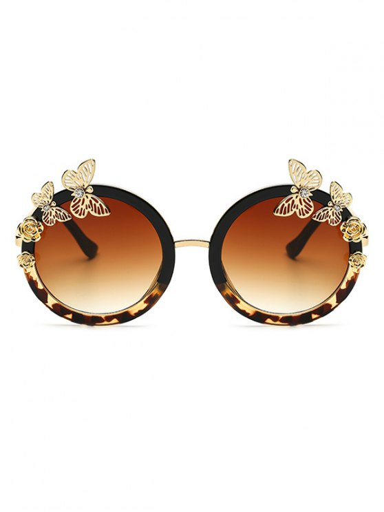 Butterfly Flecky Panel Oval Sunglasses - BLACK  Mobile