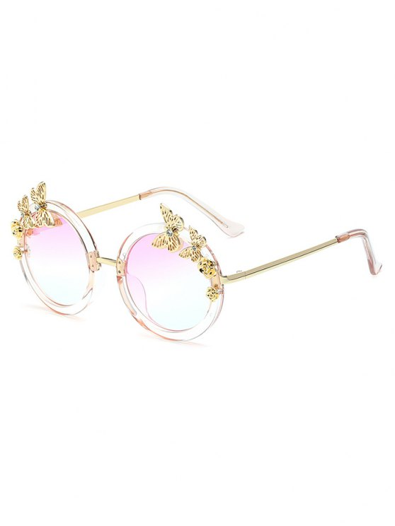 Butterfly Oval Mirrored Sunglasses - CLEAR WHITE  Mobile