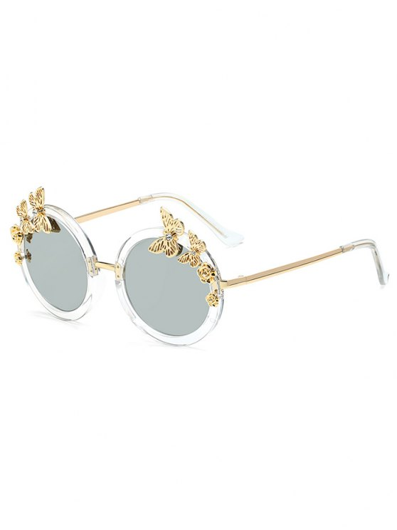 Butterfly Oval Mirrored Sunglasses - SILVER  Mobile