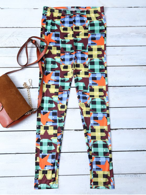 Checked Pentagram Patterned Leggings - COLORMIX L Mobile