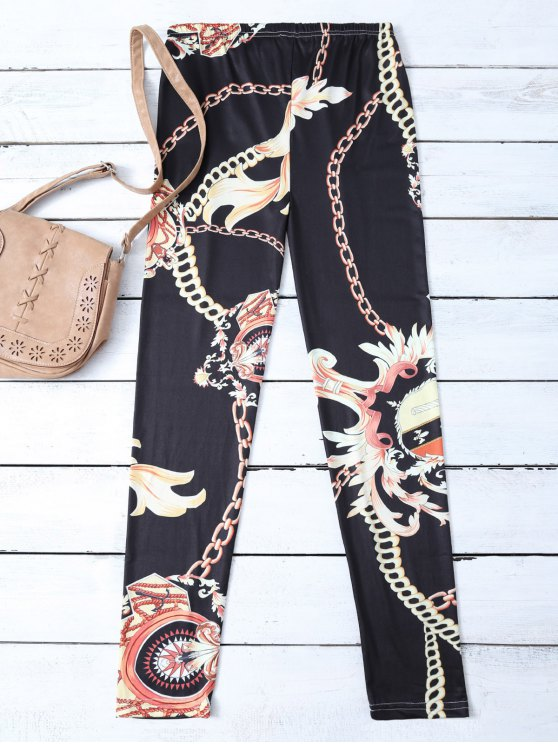 Gold Chain Patterned Leggings - BLACK XL Mobile
