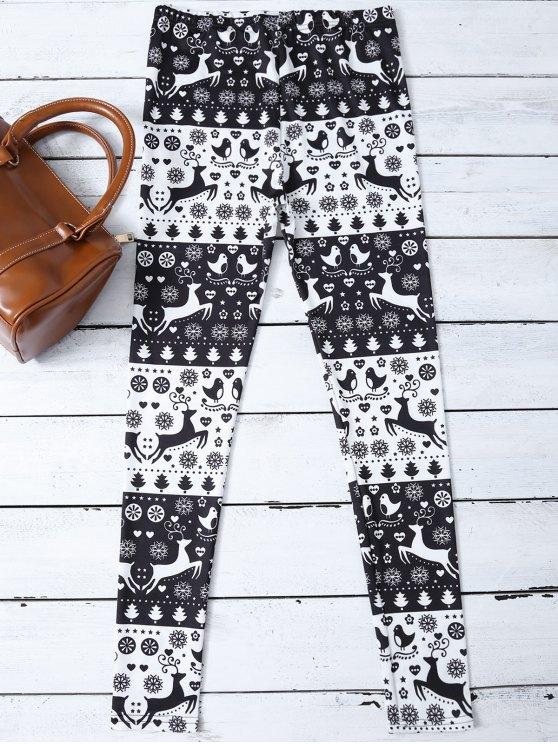 Christmas Printed Leggings - WHITE AND BLACK M Mobile