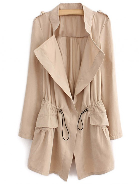 Epaulet Drawstring Coat - LIGHT KHAKI XL Mobile
