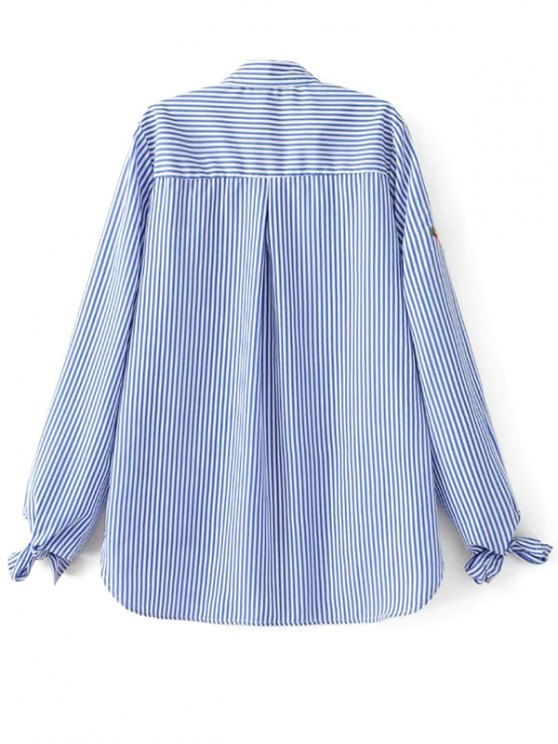 Floral Embroidered Tied Striped Shirt - STRIPE L Mobile
