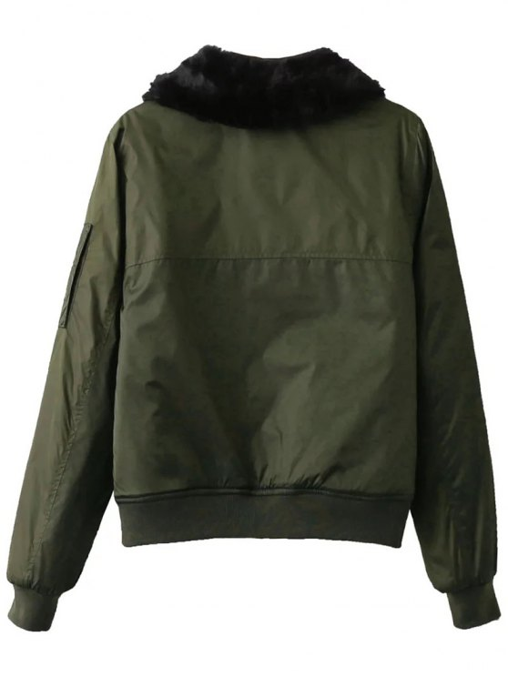 Fur Collar Padded Cargo Bomber Jacket - ARMY GREEN S Mobile