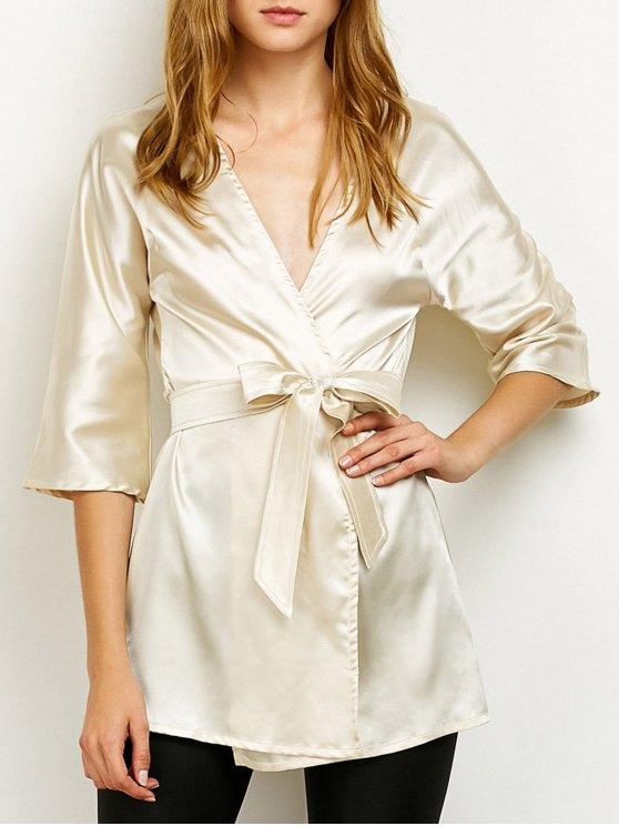 affordable Wrap Bowknot Sleep Robe - BEIGE XL
