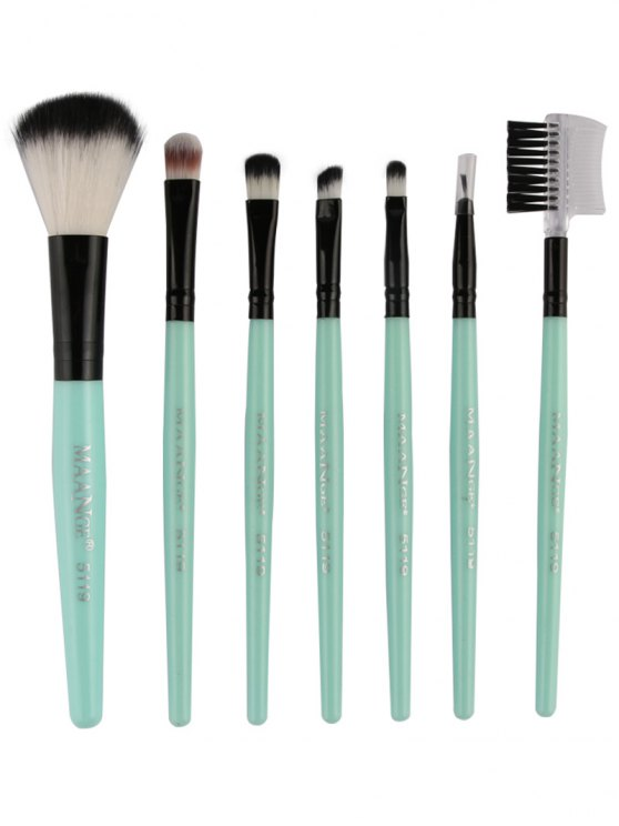 Fiber Makeup Brushes Set - GREEN  Mobile