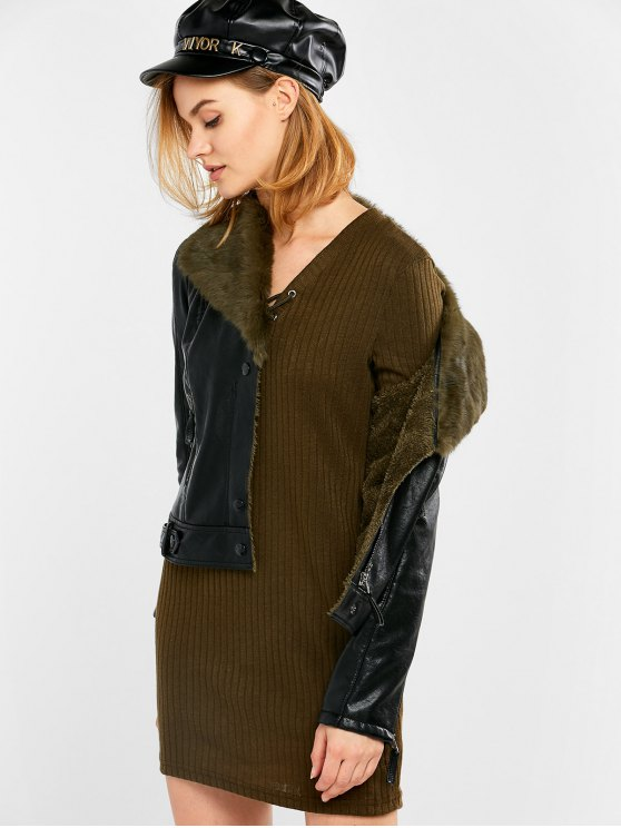 Biker Jacket in Faux Shearling - BLACK AND GREEN L Mobile