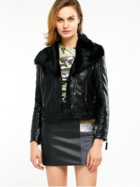 Biker Jacket in Faux Shearling - BLACK XL Mobile