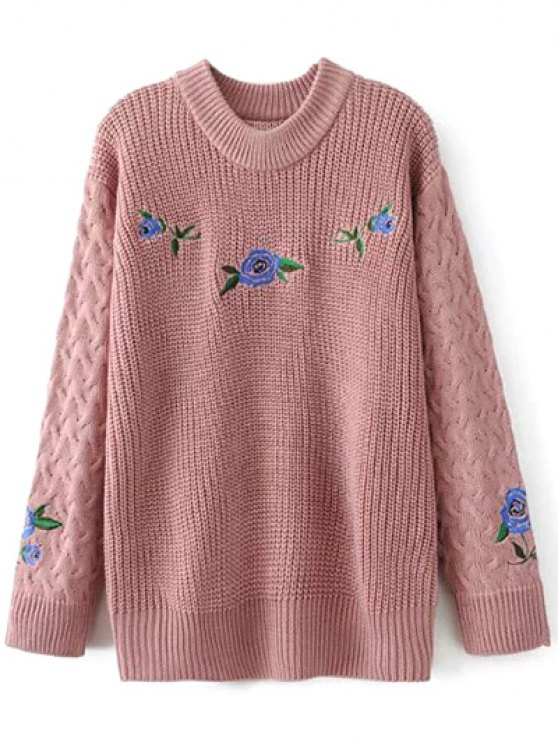 Cable Knit Floral Embroidered Jumper - PINK L Mobile