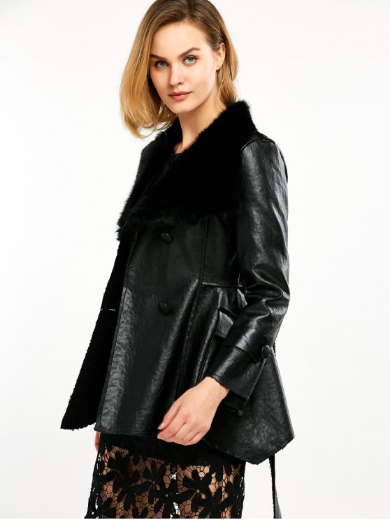 Faux Fur Collar Faux Leather Coat - BLACK XL Mobile