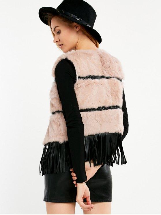 Fringe Rabbit Hair Waistcoat - PINK ONE SIZE Mobile