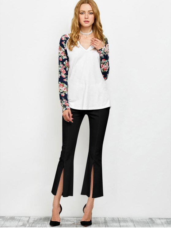 Low Cut Floral Print Sleeves Tee - WHITE XL Mobile