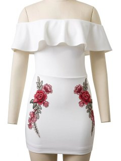 Flounced Rose Embroidered Bodycon Dress - White S