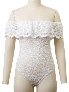Flounced Off The Shoulder Lace Bodysuit - White M