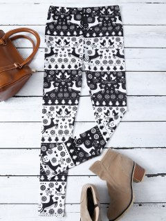 Christmas Printed Leggings - White And Black S