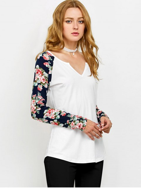 womens Low Cut Floral Print Sleeves Tee - WHITE XL Mobile