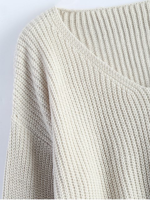 sale Zipper Cutout V Neck Sweater - OFF-WHITE ONE SIZE Mobile
