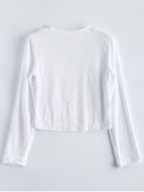 hot High Neck Fuzzy Cropped T-Shirt - WHITE S Mobile