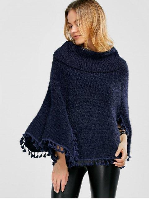 online Cowl Neck Wool Poncho - PURPLISH BLUE ONE SIZE Mobile