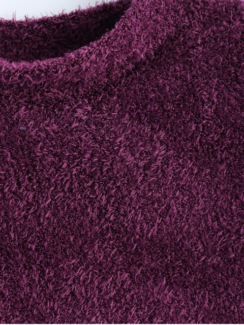 shops High Neck Fuzzy Cropped T-Shirt - PURPLISH RED S Mobile