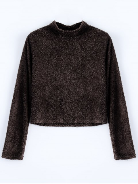 chic High Neck Fuzzy Cropped T-Shirt - COFFEE S Mobile