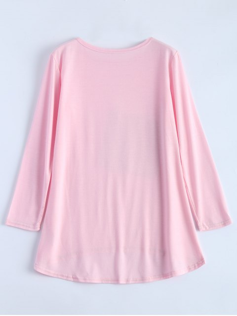 lady Sequined Asymmetric T-Shirt - PINK M Mobile