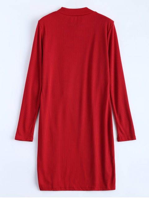 shops High Neck High Slit T-Shirt - RED M Mobile
