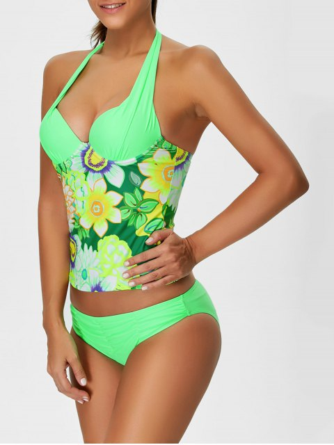 chic Floral Halter Underwire Tankini Swimsuit - GREEN L Mobile