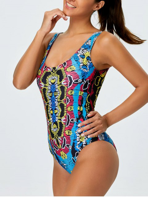 affordable High Leg Printed Tummy Control Swimsuit - MULTICOLOR S Mobile