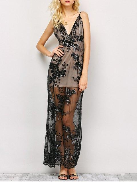 unique Low Cut High Slit Sequins Maxi Dress - BLACK M Mobile